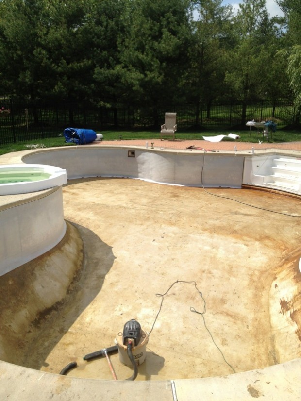 before and after custom freeform liner installation